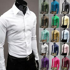 Mens Stylish Casual Formal Slim Fit Shirt Long Sleeve Luxury Work Dress Shirts