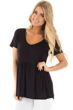 Sexy Women Casual Black Sweetheart Neckline Babydoll Style T-shirt Tops Blouse