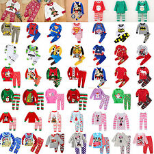 2Pcs Kids Boys Girls Melange XMAS Outfits Set Cartoon Clothes T-shirt Tops+Pants