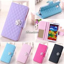 Grid Wallet Flip PU Leather Cover Stand Case for Samsung Galaxy S3 S5 Note 3 BF9