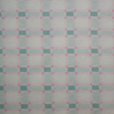 Quilt Fabric Cotton Calico Quilting FQ Teal Pink Check: Beginnings by Clothworks