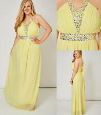 Yellow Pleated Bust Gem Embellished Tie Halter Neck Chiffon Maxi Dress Gown