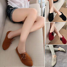 Womens Nubuck Leather Flats Loafers Casual Lace Up Ballerina Ballet Pumps Shoes
