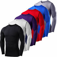 Mens Compression Thermal Under Shirts Base Layer Long Sleeve Fitness T-shirt Top
