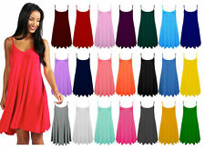 Ladies Womens Plain Sleeveless Flared Cami Strappy Dress Top Sizes UK 8-28 ■