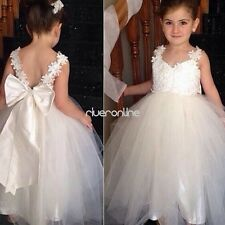 Girl Flower Strap Tutu Dress Backless Party Pageant Bridesmaid Wedding Prom Gown