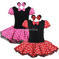 Girls Toddler Kids Minnie Mouse Costume Party Tutu Dress Up Headband Outfit Set