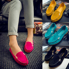 Womens Suede Moccasin Slip On Flats Loafers Summer Casual Ballerina Ballet Shoes