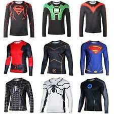 Mens Long Sleeve Compression T-shirt Tops Marvel Gym Sports Cycling Jersey Shirt