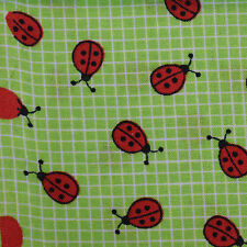 Quilt Fabric Cotton Calico Quilting FQ Green Little Ladybugs Novelty Print
