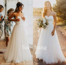 Wedding Dress A Line Strapless Beach Bridal Gowns White Ivory Size 2 4 6 8 10++