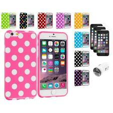 For iPhone 6 (4.7) TPU Polka Dot Case Cover+3X Screen Protector+Car Charger