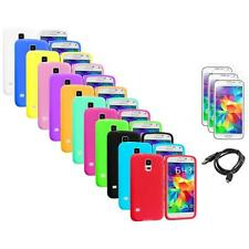For Samsung Galaxy S5 SV Silicone Rubber Case Cover + Screen Protector+USB