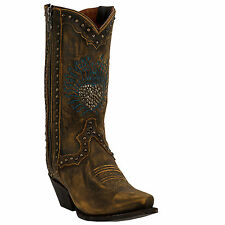 Dan Post Womens Brown Heart Breaker Distressed Leather Cowboy Boots