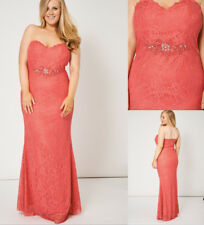 Coral Pink Beaded Diamante Lace Strapless Prom Wedding Bridesmaid Maxi Dress