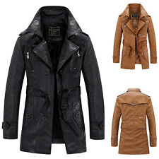 Men's Warm Trench Coat Winter Long Jacket Fleece Slim Leather Overcoat Outwear