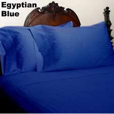 New Bedding Collection 1200TC Egyptian Cotton All UK-Sizes Egyptian Blue Striped