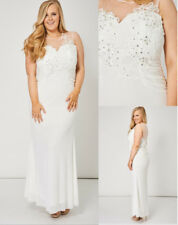 Off White Ivory Mesh Lace Sequin Applique Beaded Maxi Bridesmaid Wedding Dress