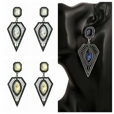 Charm Lady Triangle Drop Crystal Rhinestone Earrings Hollow Out Dangle Ear Stud