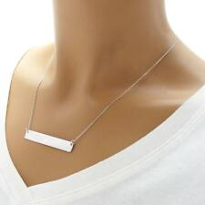 925 Sterling Silver Personalized Horizontal Rectangular Bar Pendant Necklace