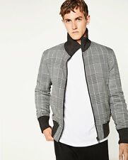 ZARA Man BNWT Authentic Grey Quilted Check Jacket Elastic Collar Cuffs 6719/304