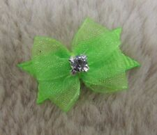 "Mo's USA Dog Bows -3/8"" tiny dog bow xx-small -neon greens- Maltese/ Yorkie+"