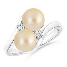 7 MM Double Golden Japanese Cultured Pearl Bypass Ring with Diamond Accents