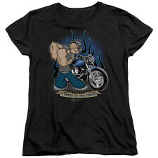 Popeye BIKER POPEYE Licensed Women's T-Shirt All Sizes