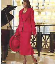 Marie 3 Piece Wardrober church wedding party Ashro Red Jacket dress Skirt Suit