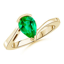14K Yellow Gold Pear Shaped Solitaire Emerald Bypass Ring Size 3-13