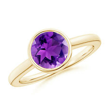 Bezel-Set Round Amethyst Solitaire Engagement Ring 14K Yellow Gold