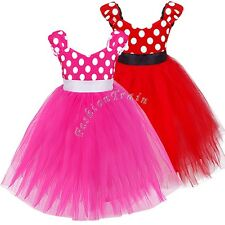 Girls Kids Minnie Mouse Dress Up Party Fancy Costume Cosplay Ballet Tutu Skirt