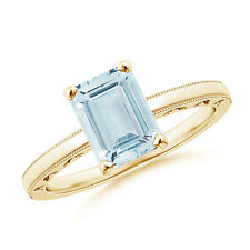 Emerald Cut Aquamarine Solitaire Ring with Prong Setting 14K Yellow Gold