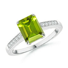 Emerald Cut Green Peridot Solitaire Ring with Diamond Accents 14k Gold Size 3-13
