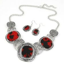 Women Fashion Geometry Choker Necklace Earrings Sets Jewelry