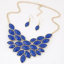 New Fashion Blue Gold Color Necklace Earrings Jewelry Sets For Women