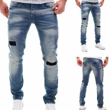 Merish Jeans Mens Patched Used Look Trousers Destroyed Blue Denim New J2085