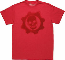 Gears of War Red on Red Crimson Omen Skull Design Licensed Graphic Tee T-Shirt
