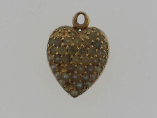 Victorian 14k Seed Pearl Heart Locket Charm c1890's Engraved.