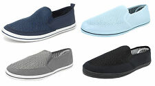 Mens Mesh Canvas Yachting Deck Shoes Slip On Pumps DEK Size 6 7 8 9 10 11 12