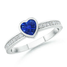 Bezel Heart Sapphire Promise Ring with Diamond Accents 14k White Gold Size 3-13