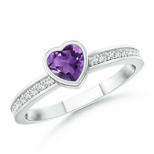 Bezel Heart Amethyst Promise Ring with Diamond Accents 14k White Gold Size 3-13