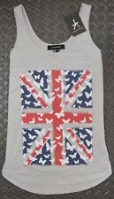 UNION JACK VEST T Shirt Primark British UK Flag Butterflys Womens Ladies 6 - 20