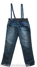 New Womens Blue Tapered NEXT Dungarees Size 14 12 Long Regular RRP £32
