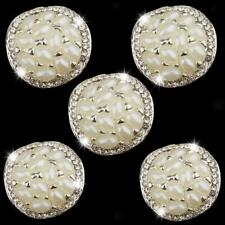 5 Alloy Rhinestone Silver Decorative Buttons Sewing Craft For Clothes Dress