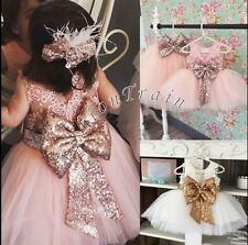 Princess Baby Kids Girls Sequined Bowknot Floral Lace Wedding Party Formal Dress