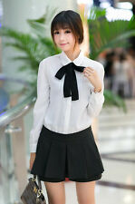 Fashion Women's Casual Long Sleeves Bow Tie Shirts Lady Sexy White Blouse Tops
