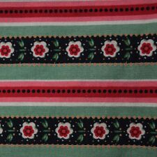 Quilt Fabric Calico Green & Pink Floral Stripe by Marcus: FQ or Cut-to-Order