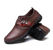 Mens loafer hollow out breathable ventilate sandals leather casual summer shoes