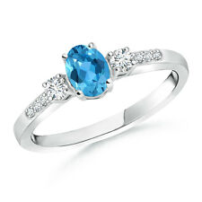 Natural Oval Blue Topaz & Diamond Three Stone Ring in 14k White Gold size 3-13